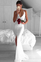 Load image into Gallery viewer, Sexy White Mermaid Deep V-Neck Criss-Cross Straps Split White Lace Prom XHMPST13750