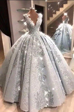 Load image into Gallery viewer, Ball Gown V Neck Floor Length Prom Dresses with Appliques Quinceanera Dress XHMPST15565