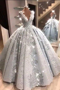 Ball Gown V Neck Floor Length Prom Dresses with Appliques Quinceanera Dress XHMPST15565