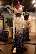 Load image into Gallery viewer, Sparkly Sweetheart Gold And Black Front Split 2 Pieces Beading Modest Prom XHMPST14086