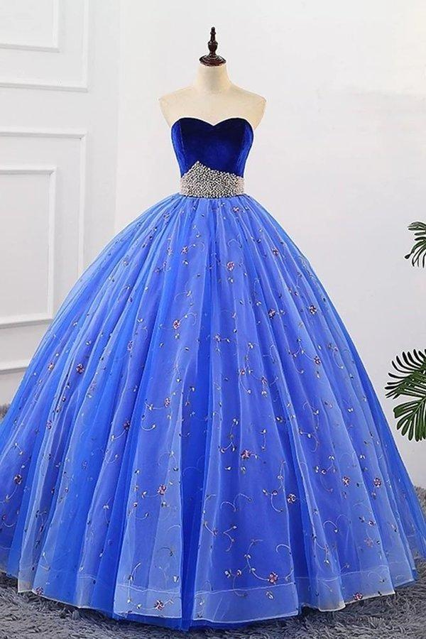 Ball Gown Sweetheart Strapless Blue Prom Dresses with Beading Tulle Quinceanera Dresses XHMPST15073
