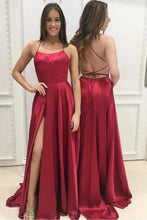 Load image into Gallery viewer, Elegant A Line Green Lace up Prom Dresses with Pockets Slit Formal Evening XHMPST15634