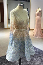Load image into Gallery viewer, Stunning Beaded Sequins Long Sleeve V Neck Homecoming Dresses Short Prom XHMPST14124