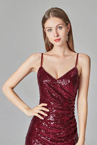 Spaghetti Straps Burgundy Prom Dresses Mermaid Sequins Party Dresses Dance Dresses XHMPST15412