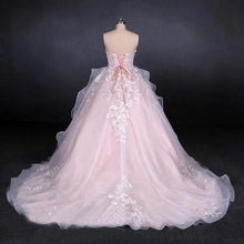 Load image into Gallery viewer, Ball Gown Strapless Sweetheart Wedding Dresses with Lace Applique Tulle Prom Dresses XHMPST15070
