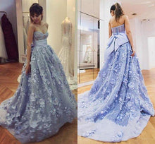 Load image into Gallery viewer, A Line Lace Appliques Sweetheart Prom Dresses Long Blue Quinceanera Dresses XHMPST14813