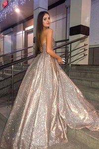 Sparkly Ball Gown Sweetheart Strapless Prom Dresses with Pockets Dance XHMPST15673