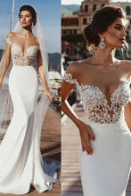 Load image into Gallery viewer, Stunning Mermaid Cap Sleeve Sheer Neck Long Wedding Dresses Beach Wedding Gowns XHMPST15437