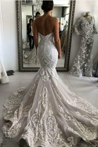 Sexy Mermaid Ivory Lace Appliques Backless Wedding Dresses Wedding XHMPST13617