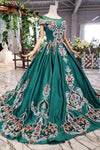 Simple Green Satin Short Sleeve Ball Gown Lace up with Applique Beads Prom XHMPST13903
