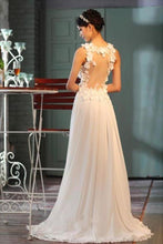 Load image into Gallery viewer, Sheer Back A-Line V-Neck Floor-Length Chiffon Appliques Sleeveless Wedding XHMPST13780