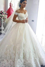 Load image into Gallery viewer, Ball Gown Off the Shoulder Sweetheart Wedding Dresses with Lace up Wedding Gowns XHMPST15561
