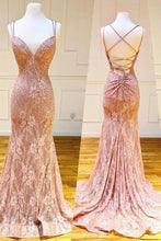 Load image into Gallery viewer, Mermaid Spaghetti Straps Pink Lace V Neck Beads Prom Dresses with XHMPST20426