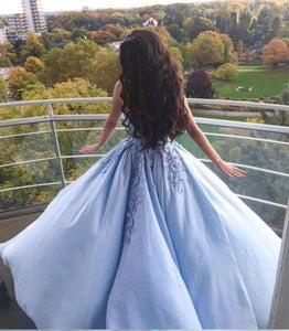 Princess Ball Gown Blue Appliques Strapless Quinceanera Dresses Sweet 16 Dresses XHMPST15290