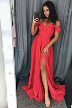 Load image into Gallery viewer, Simple Cold Shoulder Red Satin Straps Prom Dresses A Line with Split Evening XHMPST13893