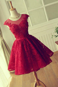 Scoop A-line Short Red Lace Homecoming Dress Cute XHMPST13453