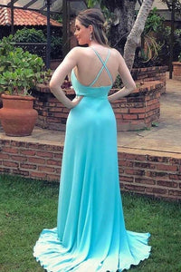 Sexy Spaghetti Strap Side Slit Long Evening Dresses Flowy Long Prom Dresses XHMPST14754