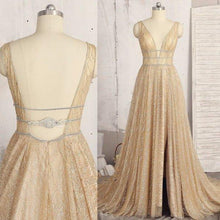 Load image into Gallery viewer, A line Deep V Neck Sleeveless Sequins Floor Length Prom Dresses Long Evening XHMPST10234