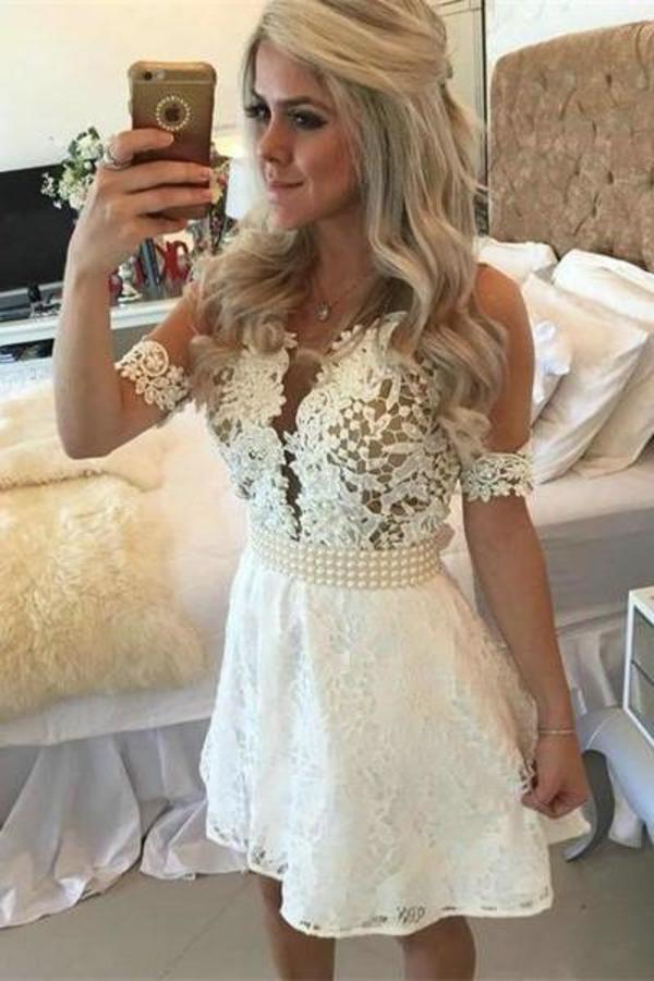 White Lace Beading A-Line Short Lace Formal Dress For Teens V-Neck Homecoming XHMPST14494