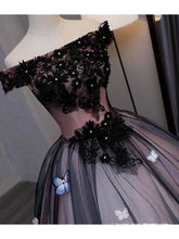 Load image into Gallery viewer, Princess Black Off the Shoulder Butterfly Appliqued Prom Dresses Quinceanera XHMPST13259