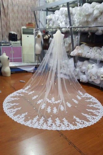 Ivory Lace Tulle Appliques 3D Flowers Wedding XHMPST12504