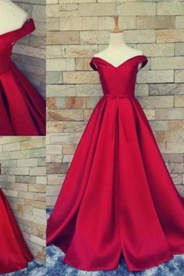 Simple Ball Gown Off The Shoulder Sweetheart Red Satin Fitted Corset Prom XHMPST13877