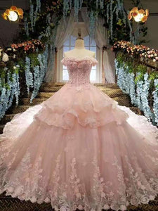 2020 Tulle Awesome Pink Wedding Dresses Off The Shoulder Lace Up With Appliques And XHMPST14638