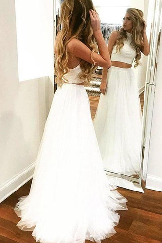 Unique Two Pieces White Halter Tulle Prom Dresses Long Cheap Dance XHMPST14384