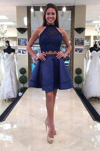 Two Piece Round Neck Short Tiered Satin Blue Open Back Homecoming Dress with XHMPST14247