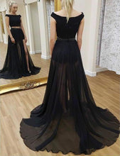 Load image into Gallery viewer, A line Two Piece Detachable Black Prom Dresses Sequin Short Sleeves Chiffon Formal XHMPST10649