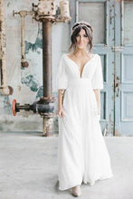 Load image into Gallery viewer, Simple A Line Ivory Chiffon V neck Wedding Dresses Half Sleeves Long Wedding Gowns XHMPST15381