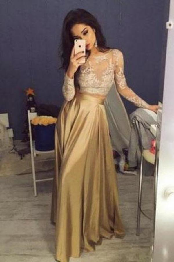 Elegant Long Sleeves Crew Stain Prom Dress/Evening Dress XHMPST14710