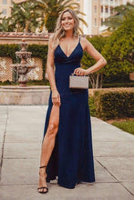 Load image into Gallery viewer, Sexy V Neck Long Spaghetti Straps Mermaid Navy Blue Prom Dresses with High Split XHMPST15366