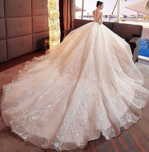 2020 Gorgeous Scoop Lace Appliques Flowers White Organza Long Sleeve Wedding XHMPST10080