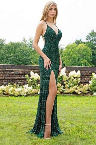 Sexy Mermaid Green V Neck Sequins Criss Cross Prom Dresses Cheap Evening XHMPST13614