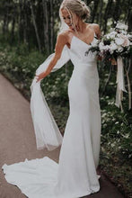 Load image into Gallery viewer, Simple Spaghetti Straps Mermaid Beach Wedding Dresses V Neck Satin Boho Bridal Dresses XHMPST14677