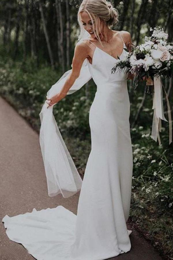 Simple Spaghetti Straps Mermaid Beach Wedding Dresses V Neck Satin Boho Bridal Dresses XHMPST14677