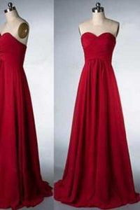 Simple Sweetheart Strapless Red Floor-Length A-Line Backless Sleeveless Prom XHMPST13975