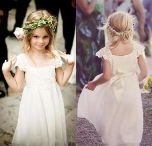 Cute Cap Sleeve Lace and Chiffon Ivory Flower Girl Dresses Wedding Party XHMPST11705