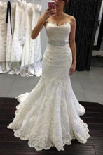 Load image into Gallery viewer, White lace sweetheart sequins mermaid floor length prom dress Wedding XHMPST14502