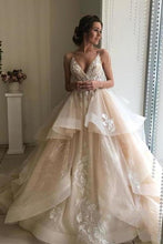Load image into Gallery viewer, Spaghetti Straps V Neck Wedding Dresses with Layer Sleeveless Wedding Gowns XHMPST15424