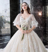 Load image into Gallery viewer, Princess Half Sleeve Ball Gown Wedding Dresses Appliques V Neck Bridal Dresses XHMPST14928