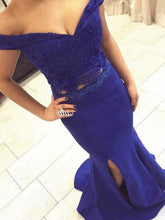 Load image into Gallery viewer, Two Piece Off the Shoulder Sweetheart Mermaid Side Split Long Royal Blue Prom XHMPST14242