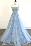 Elegant Spaghetti Straps Lace Applique Blue Bateau Tulle Backless Long Prom Dresses XHMPST15201