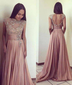 2020 Scoop Beads Long Cheap Open Back Chiffon Pink A-Line Sleeveless XHMPST10048