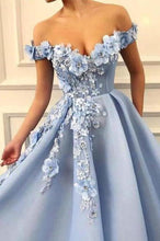 Load image into Gallery viewer, A Line Blue Off the Shoulder Tulle Lace Sweetheart 3D Flowers Prom Dresses Formal XHMPST10154