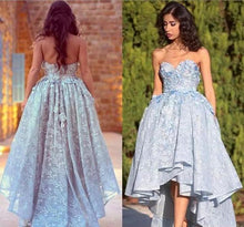 Load image into Gallery viewer, Unique Lace Sweetheart High Low Ball Gown Prom Dresses For Teens Graduation XHMPST14337