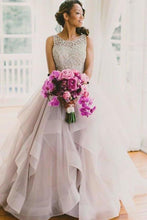 Load image into Gallery viewer, 2020 A line Scoop Neckline Organza Long Custom Affordable Open Back Wedding XHMPST10002