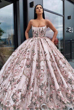 Load image into Gallery viewer, Princess Ball Gown Spaghetti Straps Beads Floral Print Prom Dresses Long Quinceanera Dress XHMPST15294