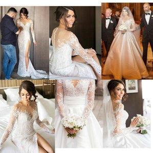 Ball Gown Long Sleeve Ivory Satin Wedding Dresses with Lace Long Bridal Dresses XHMPST14865